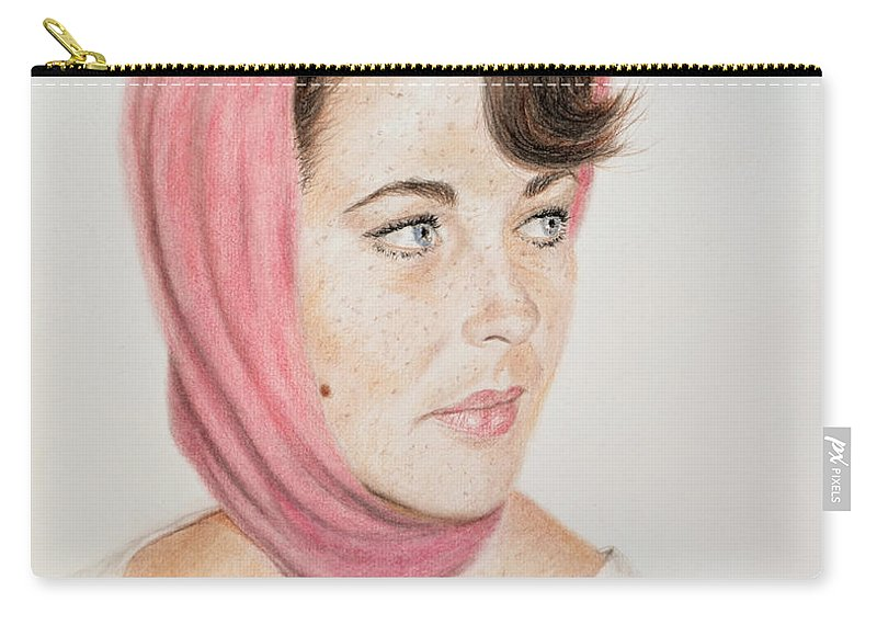 Liz Taylor Carry-all Pouch featuring the drawing Liz Taylor Wearing A Scarf by Jim Fitzpatrick
