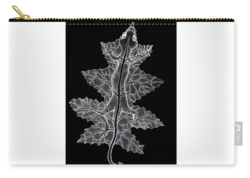 Lizard Art Carry-all Pouch featuring the drawing Lizard And Leaf by Nick Gustafson