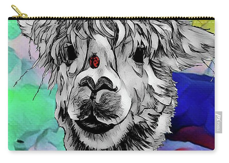 Llama Carry-all Pouch featuring the digital art Llama And Lady In Splash by Lisa Pfeiffer
