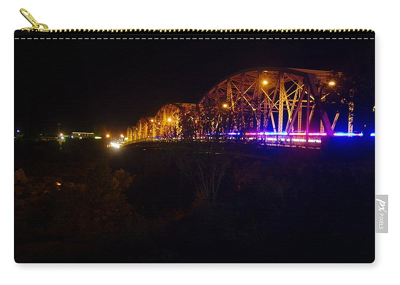 James Smullins Carry-all Pouch featuring the photograph Llano Bridge At Night by James Smullins
