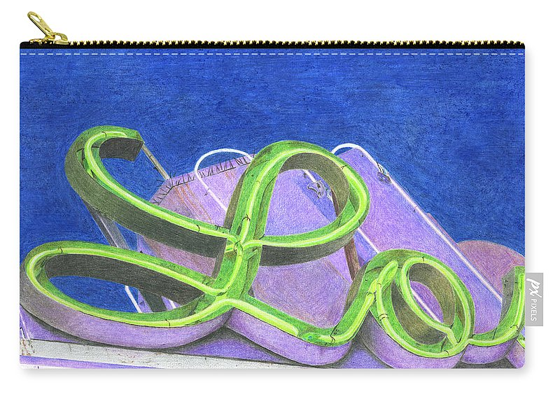 Neon Sign Carry-all Pouch featuring the drawing Lo by Rob De Vries