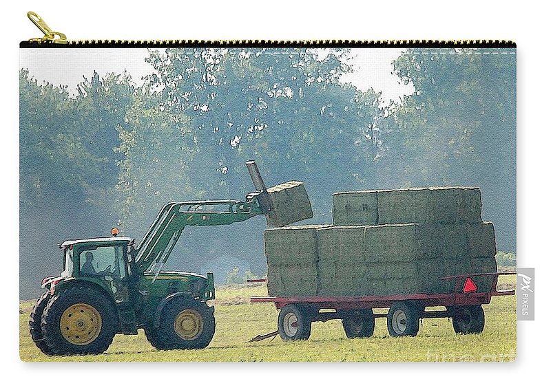 Farm Carry-all Pouch featuring the painting Loading Hay At Dusk by J McCombie