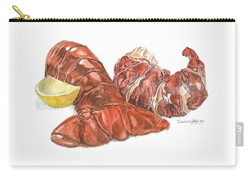 Lobster Carry-all Pouch featuring the painting Lobster Tail And Meat by Dominic White