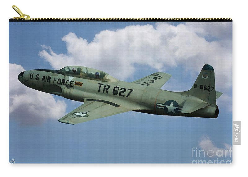 Lockheed. F-80. Shooting Star. Usaf Carry-all Pouch featuring the digital art Lockheed F-80 by Tommy Anderson