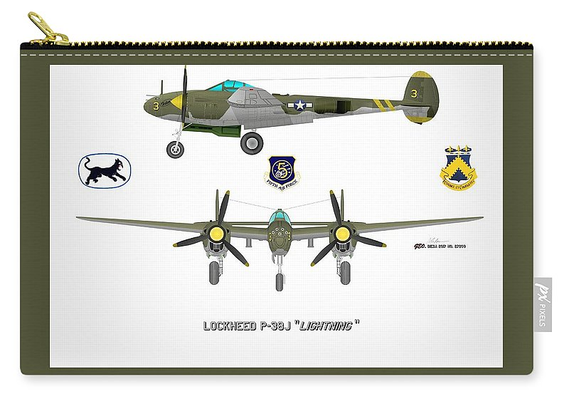 Lockheed P-38j Lightning Fighter Plane Carry-all Pouch