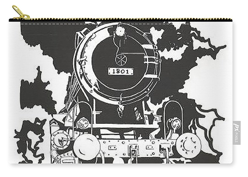 Locomotive Carry-all Pouch featuring the drawing Locomotive by Jacki Randall