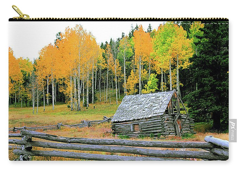 Cabin Carry-all Pouch featuring the photograph Log Cabin by Don Schimmel
