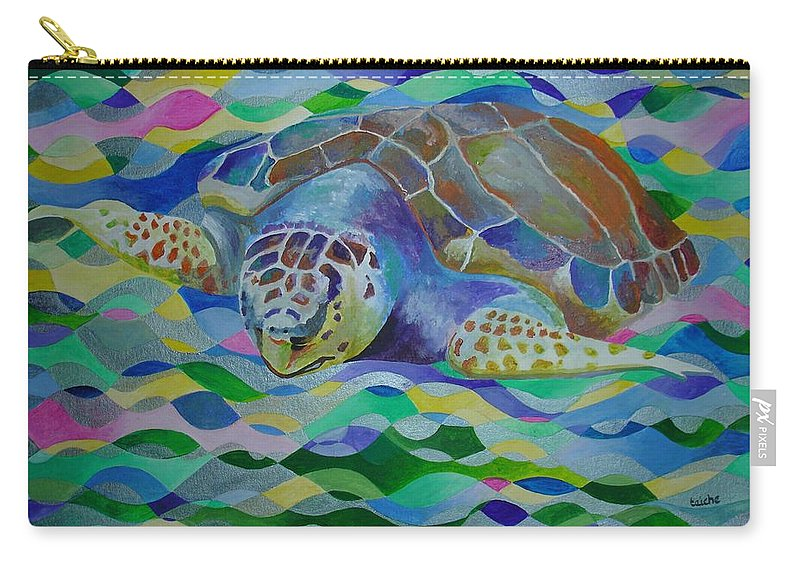 World Turtle Day Carry-all Pouch featuring the painting Loggerhead Turtle by Taiche Acrylic Art