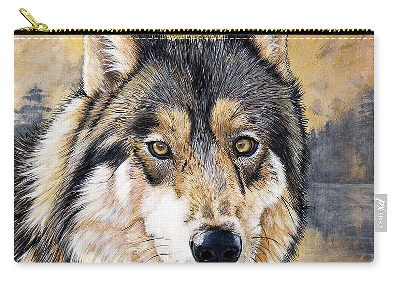 Acrylics Carry-all Pouch featuring the painting Loki by Sandi Baker