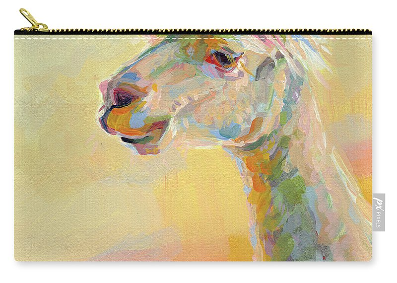 Llama Carry-all Pouch featuring the painting Lolly Llama by Kimberly Santini