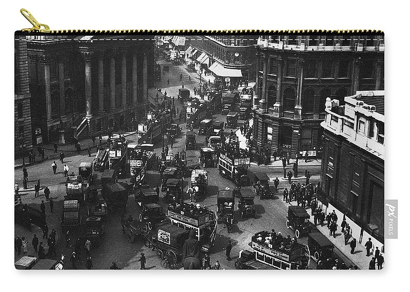 1910 Carry-all Pouch featuring the photograph London: Financial District by Granger