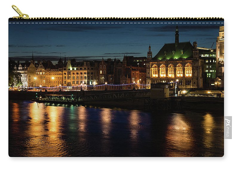 Georgia Mizuleva Carry-all Pouch featuring the photograph London Night Magic - Colorful Reflections On The Thames River by Georgia Mizuleva