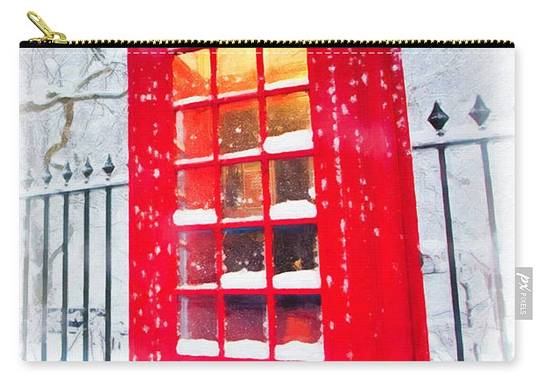 London Carry-all Pouch featuring the painting London Red Telephone Booth by Jeelan Clark