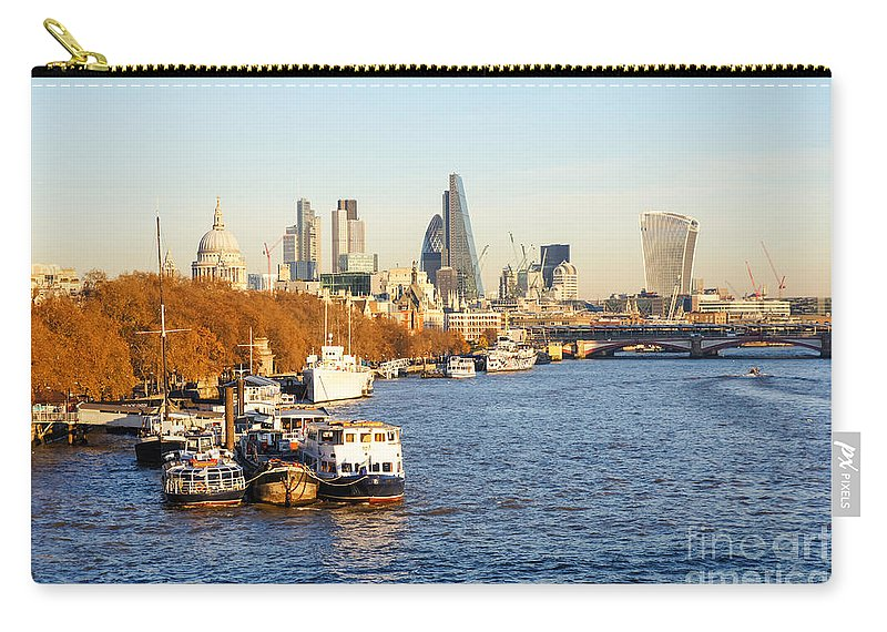 Autumn Fall Square Mile Britain British England English Uk Europe European Panoramic Travel Traveling Tourism Architecture Building Buildings Modern Construction Iconic Famous Capital Urban Landmark Landmarks Destination Sightseeing Financial Business District Skyscrapers River Water Landscape Riverside Riverbank Boats London Thames City Cityscape Skyline Panorama View Carry-all Pouch featuring the photograph London Skyline 18 by Marcin Rogozinski