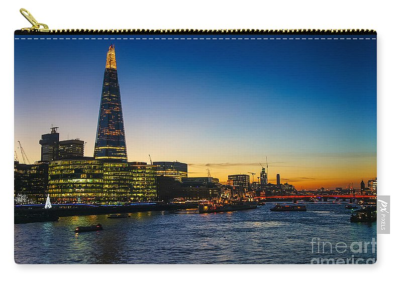 Britain British England English Uk Europe European Tower View Panoramic Cityscape Skyline Travel Traveling Tourism Riverbank Riverside Scenery Scene Architecture Buildings Modern River Icon Iconic Famous Capital City Urban Landmark Landmarks Attraction Sightseeing Sunset Dusk Twilight Night Lights London Shard Skyscraper South Bank Building Thames Carry-all Pouch featuring the photograph London South Bank 3 by Marcin Rogozinski