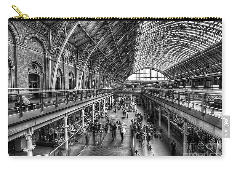 Art Carry-all Pouch featuring the photograph London St Pancras Station Bw by Yhun Suarez