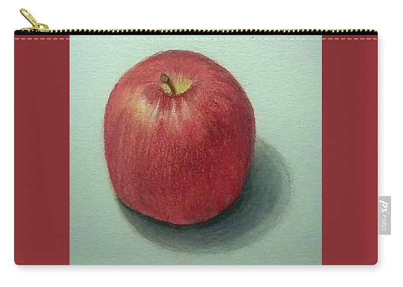 Carry-all Pouch featuring the drawing Lone Apple by Rob Greenwald