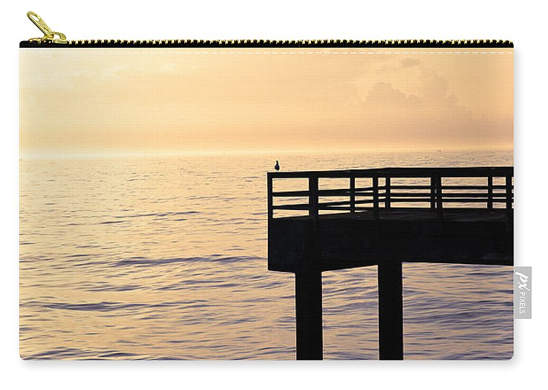 Beach Carry-all Pouch featuring the photograph Lone Bird At Morning by Marilyn Hunt
