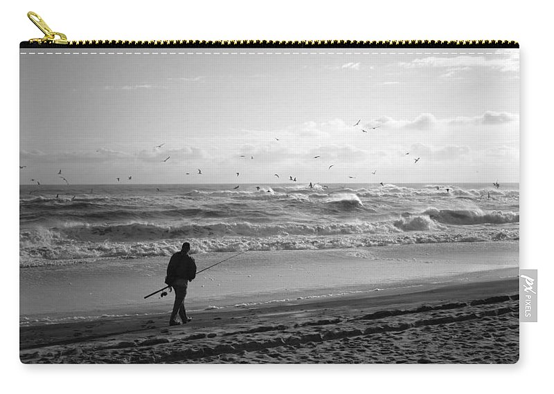 Sea Carry-all Pouch featuring the photograph Lone Fisherman by Linda C Johnson