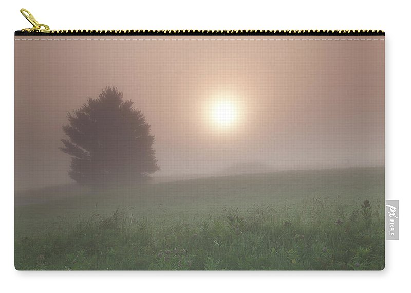 Fog. Foggy. Mist Carry-all Pouch featuring the photograph Lone Tree In The Fog by Kevin Kludy