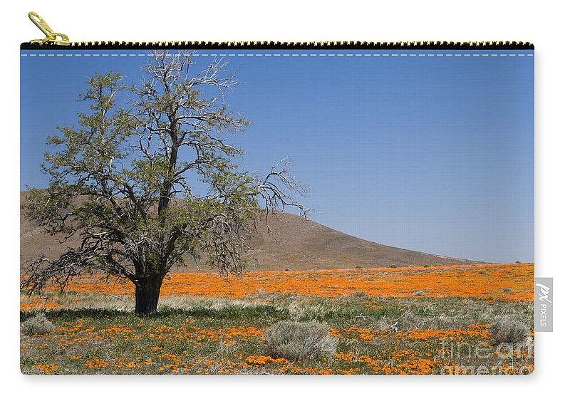Poppies Carry-all Pouch featuring the photograph Lone Tree In The Poppies by Sandra Bronstein
