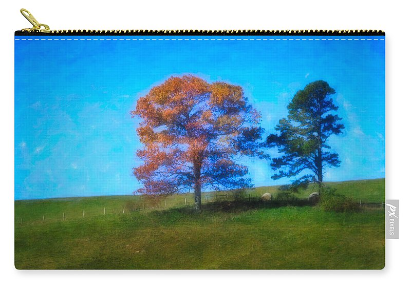 Fall Carry-all Pouch featuring the digital art Lone Trees Painting by Teresa Mucha