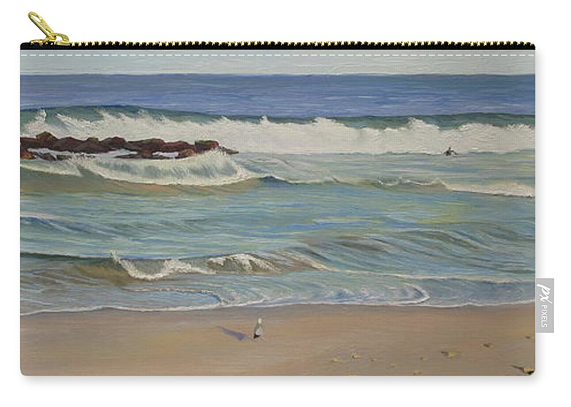 Seascape Carry-all Pouch featuring the painting Lone Watcher by Lea Novak