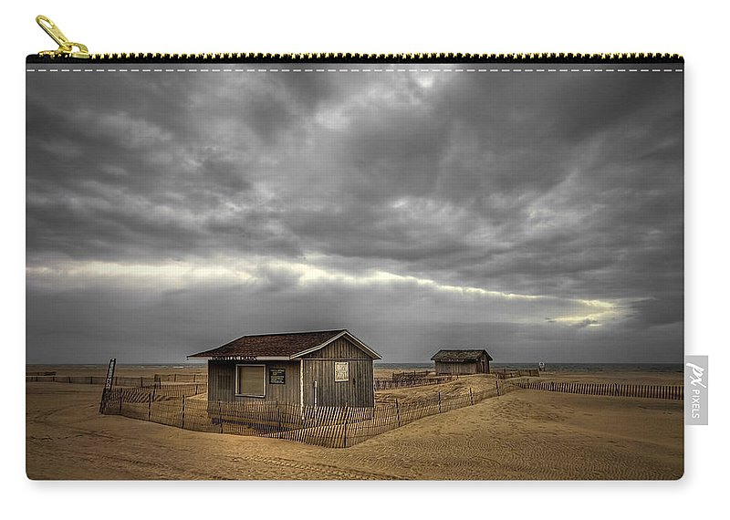 Beach Carry-all Pouch featuring the photograph Lonely Beach Shacks by Evelina Kremsdorf