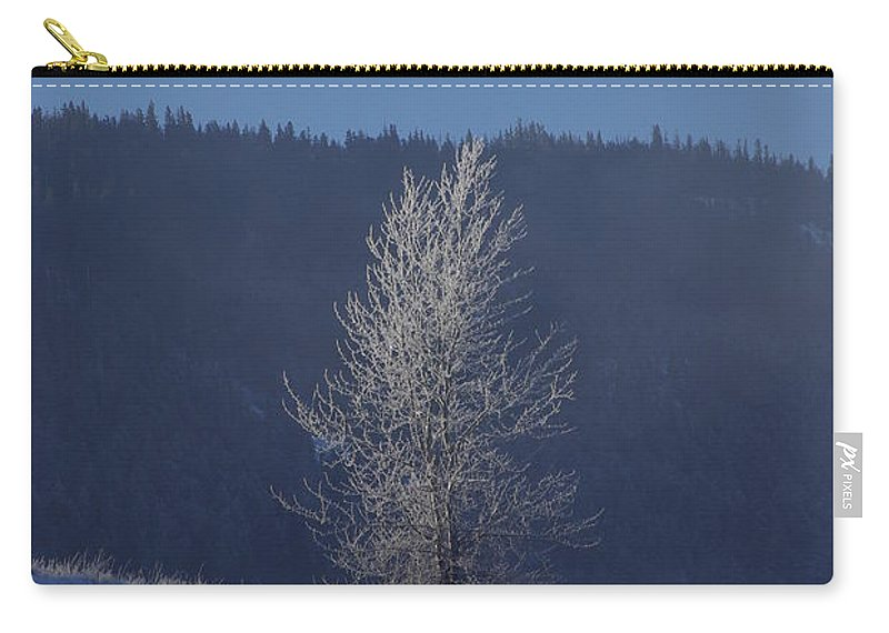 Lonely Carry-all Pouch featuring the photograph Lonely Frosty Tree by Cindy Johnston