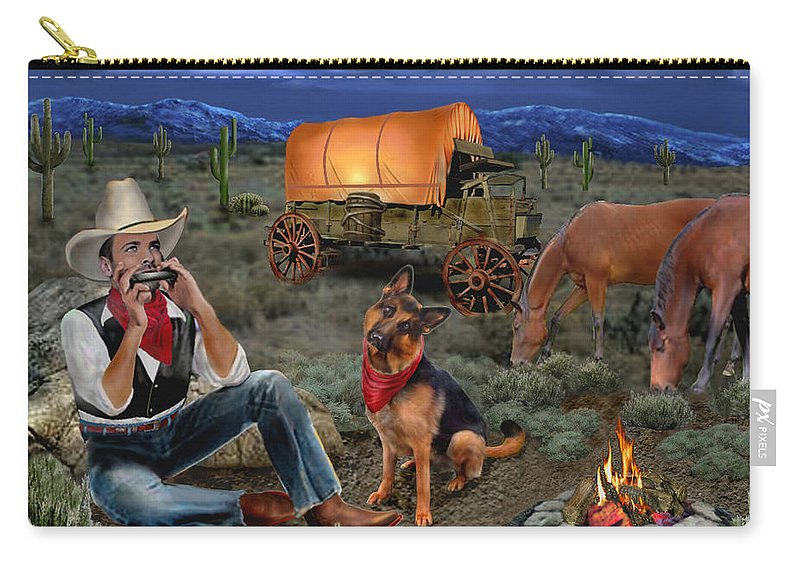 Lonesome Cowboy Carry-all Pouch featuring the digital art Lonesome Cowboy by Glenn Holbrook