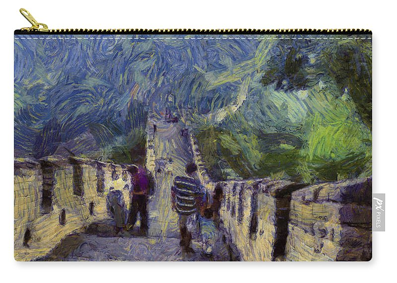 Great Wall Of China Carry-all Pouch featuring the photograph Long Slope Of The Great Wall Of China by Ashish Agarwal