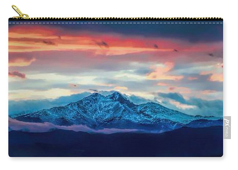 Longs Peak Carry-all Pouch featuring the photograph Longs Peak At Sunset by Jon Burch Photography