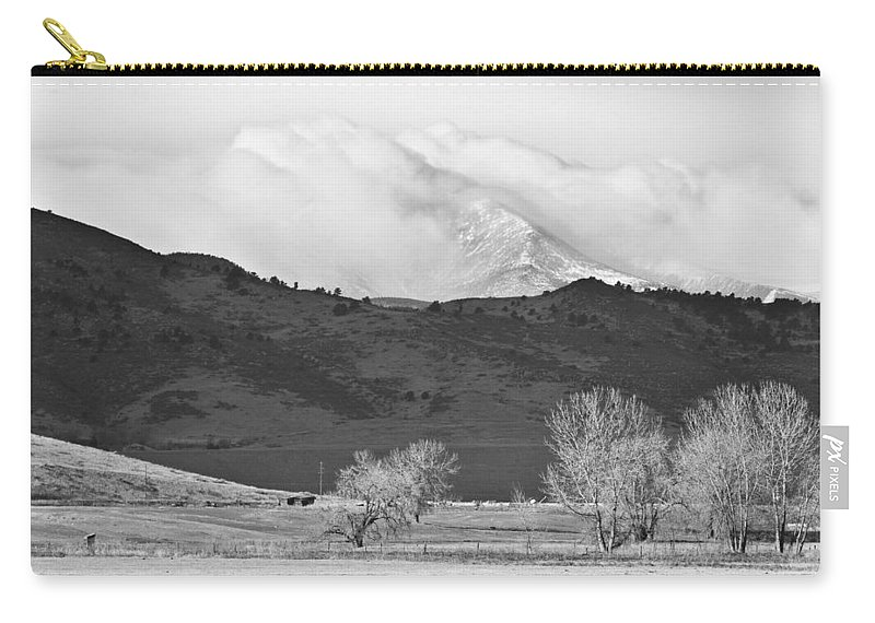 Colorado Carry-all Pouch featuring the photograph Longs Peak Snow Storm Bw by James BO Insogna