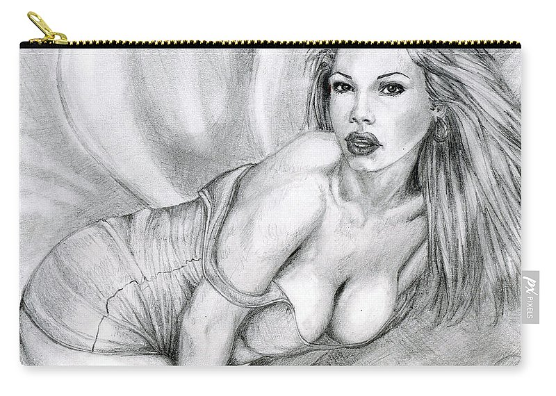 Model Carry-all Pouch featuring the drawing Look At Me In The Eyes by Alban Dizdari