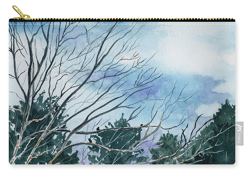 Watercolor Landscape Trees Sky Clouds Blue Carry-all Pouch featuring the painting Look To The Sky by Brenda Owen