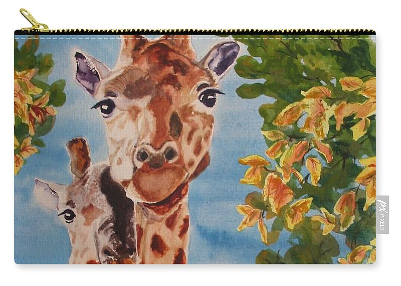Giraffes Carry-all Pouch featuring the painting Lookin Back by Karen Ilari