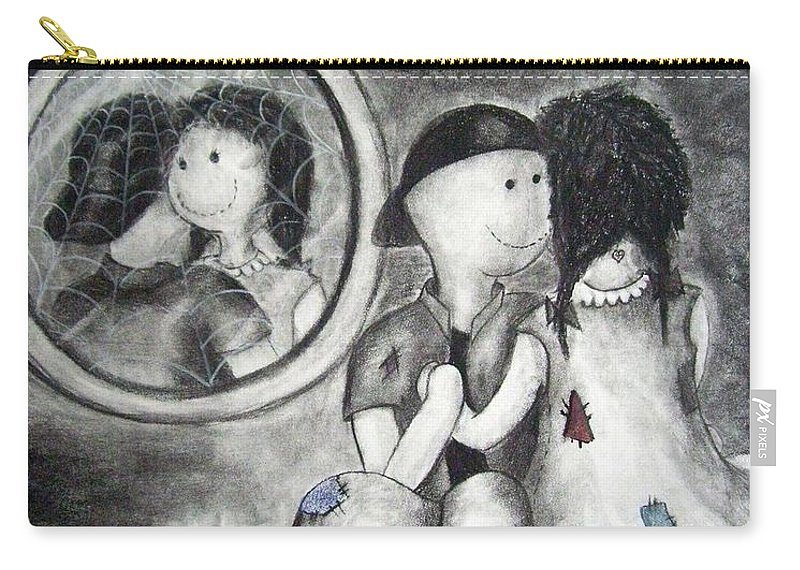Ragdolls Carry-all Pouch featuring the drawing Looking Back by Cynthia Campbell