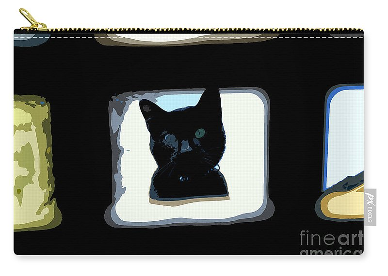 Black Cat Carry-all Pouch featuring the painting Looking by David Lee Thompson