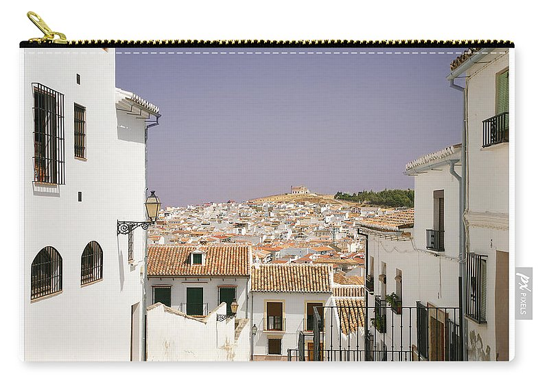 Antequera Carry-all Pouch featuring the photograph Looking Down Over Antequera From Near The Church Of Santa Maria La Mayor by Mal Bray