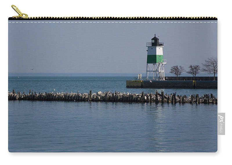 Chicago Lake Michigan Windy City Lighthouse Bird Gulls Water Blue Sky Carry-all Pouch featuring the photograph Looking Far by Andrei Shliakhau