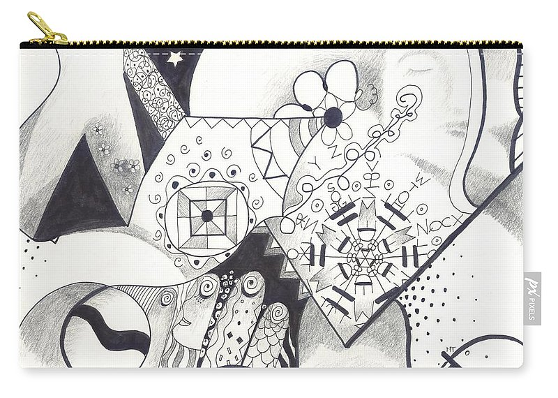 Allness Carry-all Pouch featuring the drawing Looking For The Universe In A Grain Of Sand by Helena Tiainen