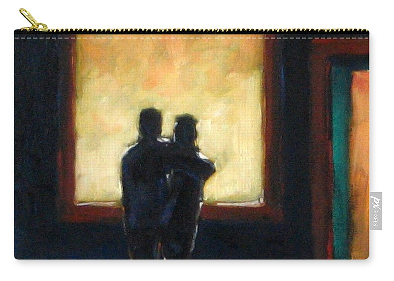 Town Carry-all Pouch featuring the painting Looking In Looking Out Mini by Richard T Pranke