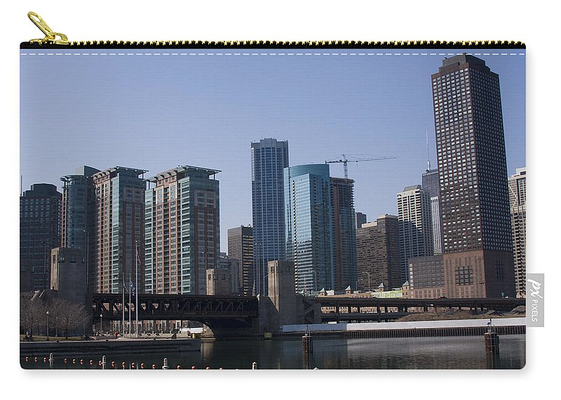 Chicago Windy City Building Tall High Big Skyscraper Water River Lake Michigan Blue Sky Metro Urban Carry-all Pouch featuring the photograph Looking Into The City by Andrei Shliakhau