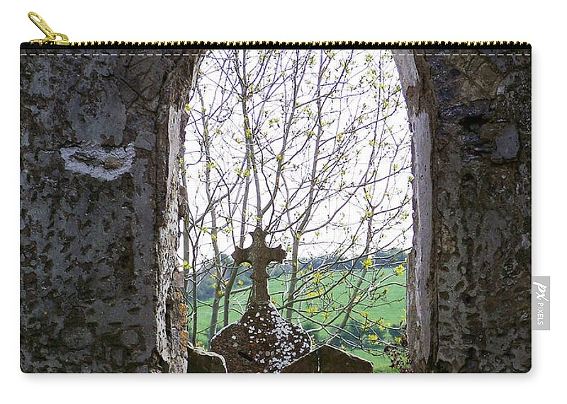 Ireland Carry-all Pouch featuring the photograph Looking Out Fuerty Church Roscommon Ireland by Teresa Mucha
