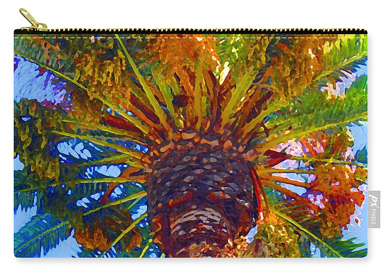 Garden Carry-all Pouch featuring the painting Looking Up At Palm Tree by Amy Vangsgard
