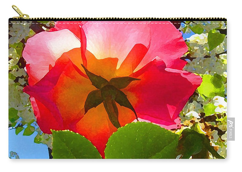 Roses Carry-all Pouch featuring the photograph Looking Up At Rose And Tree by Amy Vangsgard