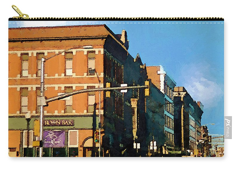 Buildings Carry-all Pouch featuring the painting Looking Up Main Street by RC deWinter