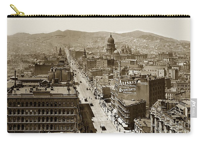 San Francisco Carry-all Pouch featuring the photograph Looking Up Market Street From The Call Building With City Hall Circa 1900 by California Views Archives Mr Pat Hathaway Archives