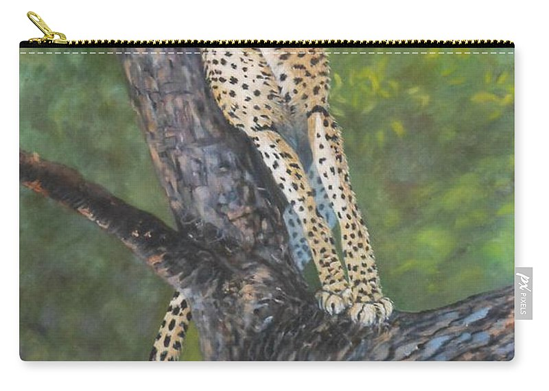 Cheetah Carry-all Pouch featuring the painting Lookout by Caroline Street