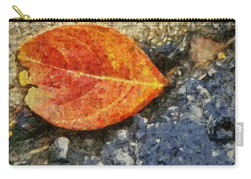 Asphalt Carry-all Pouch featuring the painting Loose Leaf by Jeffrey Kolker